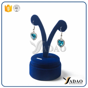 Hot sale customized wholesale free logo jewelry wooden finished with velvet satin earring display stand