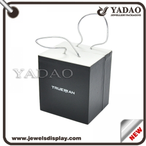 Hot sale  special designed logo printed custom size various functional jewelry plastic gift box with handles wholesale