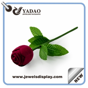 Hot sale wholesale prices Red rose jewelry flocking box for ring,Ring jewellery boxes made in China