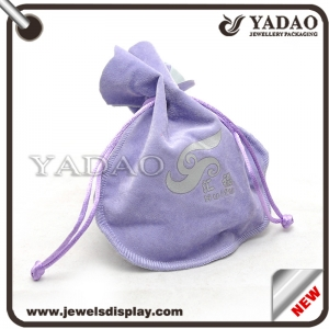 Hot selling OEM print logo velvet jewelry pouch for ring necklace bangle earring etc.
