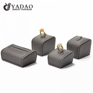 Hot selling elegant leatherette ring display stand with customized color and height suitable for your jewelry showcase.