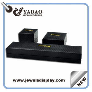 Import black leather Logo Printed jewelry boxes ,leather box