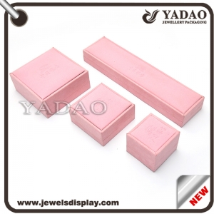 Jewelry Packing Products Manufacture Jewelry Boxes Pink Color Packaging Box Pastic Covered Velvet Gift  Box Jewelry Display Box Supplier