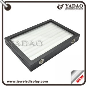 Jewelry display tray wooden tray with transparent acrylic lid for jewelry shop and tradeshow storage jewelry display showcase