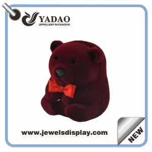 Jewelry packaging Red bear shape velvet ring box,flocked ring box,jewelry box