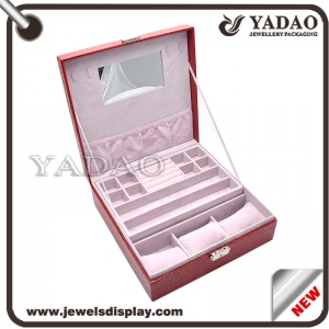 Large capacity rectangle lining leather covered locking jewelry plastic box for packaging with mirror inside