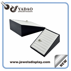 Leather black and white Jewelry Ring Tray with your logo made in China