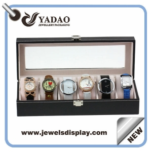 Leatherette covered locked watch dispaly tray with clear lid manufacture