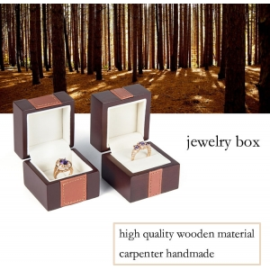 Wooden fashion-designed free-logo fine jewelry ring box with leatherette on lid