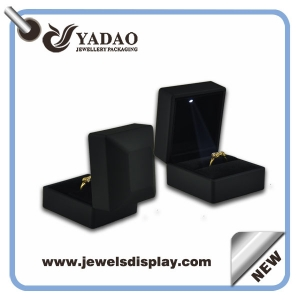 Luxury Led light jewelry boxes plastic with rubber finish ring box jewelry display earring box pendant boxes bangle box and bracelet display box