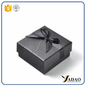 Luxury black handmade high-end customized  wholesale paper box with ribbon for ring/necklace/pendant/necklace