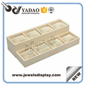 Luxury jewelry packing supplier, wooden+pu paper watch stands watch trays with pillow  for women and men