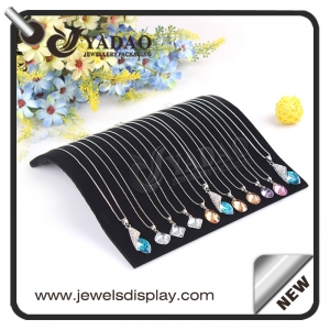 Matte balck velvet pendant display tray for gem to show gem and diamond necklace made by Yadao.