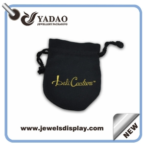 Most popular soft suede jewelry pouch bag with gold stamped logo and black cord