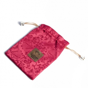 New-launched Chinese-style elegant customized handmade red satin drawstring jewelry gift packaging pouch