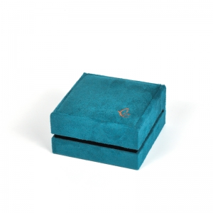 New year packaging teal color jewelry box suede covered for jewelry store pendant box