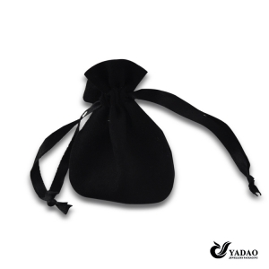 Noble small black soft velvet drawstring round jewelry pouch wholesale