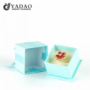 OEM/ODM Blue paper ring box gift box with bowknot and soft velvet pillow insert made in direct factory on sale.