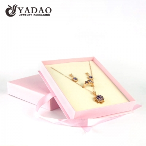 OEM/ODM paper jewelry set box for displaying and packing ring earring and pendant with factory price.