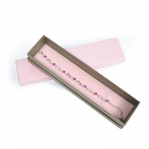 Pink bracelet box jewelry cardboard packaging paper box with logo for girl