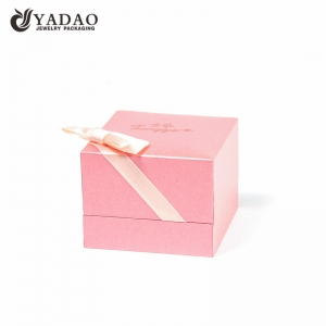 Pink jewellery ring box for girls with ribbon bowknot