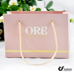 Pink or blue or any color you like gift bag shopping bag with good quality rope handle and gold or silver stamped custom logo
