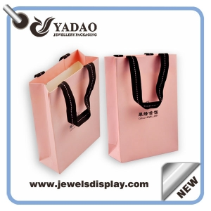 Pink shopping jewelry paper bag for jewelry store