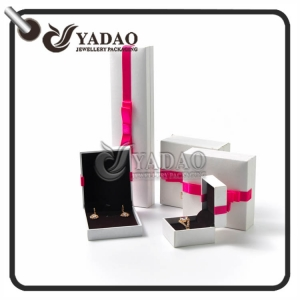 Plastic box set covered with high end matt pu paper decorated with colorful bowknot.