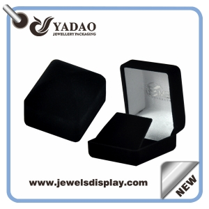 Promotional small cute black velvet earring boxes ,earring jewelry cases ,earring storage chests for jewelry shop and showcases