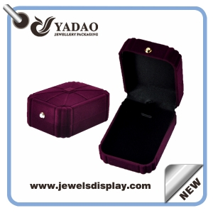 Purple Customized Jewelry Display Box Velvet Ring Packaging Box High-end Flocking Box accept print your Logo