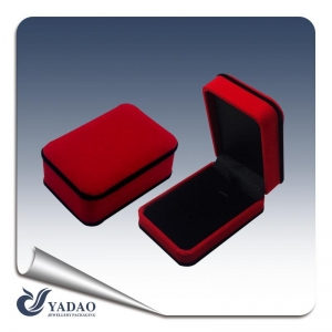 Red soft velvet covered black edge special custom folding velvet plastic packaging box