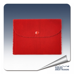 Red velvet pouch for jewelry envelope bag jewelry pouch with logo from China manufacturer