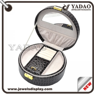 Round black lining leather antique mirror locking jewelry leather plastic box with handle