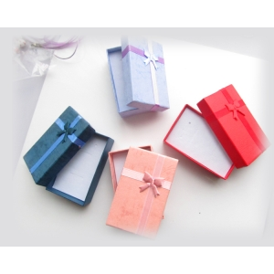 Simple cheap colorful paper gift box with separate lid and bow-knot wholesale