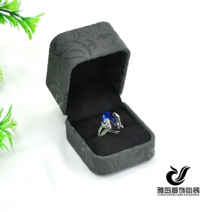 Small elegant pattern plastic ring pvc leather jewelry box manufacture
