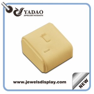 Small various color wooden leatherette covered ring stand display for jewelry showcase