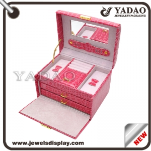 Supplier of Fashion Jewelry Box Wooden Covered Leatherette Paper Packaging Box Creative Structure Red Color Storage Box for Jewellery or Luxury Goods