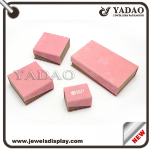Sweet designable in color pink jewelry paper box sets for rings,earrings,pendants,bracelet,bangles,watches,necklaces