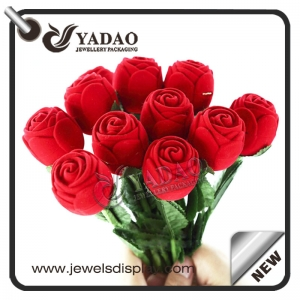 Valentine's Day Red Rose-Shaped Jewelry Gift Box Flocking Ring Box for Lovers