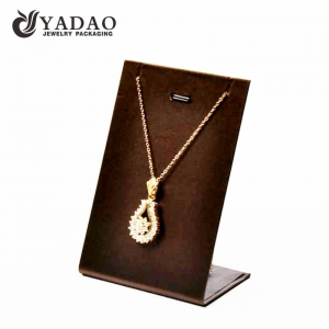 Vertical type steel necklace display stands covered with leatherette/velvet; with pocket for chain; with customized service.