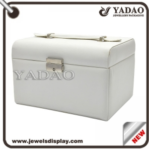 White leather without lines jewelry packaging box with drawer and mirror
