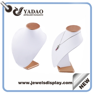 White pu leather covered wooden jewelry necklace display bust