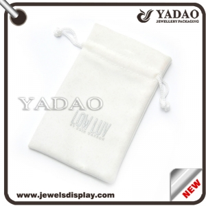 White velvet pouch for ring necklace bangle etc. made in China