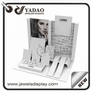 Wholesale China custom jewellery showcase props for shop and exhibitions exhibitor white acrylic jewelry display