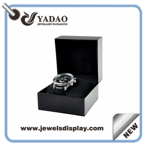 Wholesale China factory Newest design black leatherette paper  watch packing boxes,watch gift boxes,watch display boxes with embossed logo