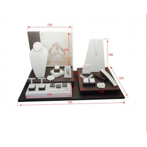Wholesale China factory custom wood jewellery exhibitor organizer for shop counter and store window leather