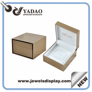 Wholesale China factory gold color leatherette paper plastic jewellery boxes with custom rose gold hot stamping logo ring packing  boxes