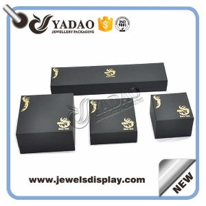 Wholesale China factory of boxes for ring earring necklace bangle and bracelet packing black leatherette jewelry box set