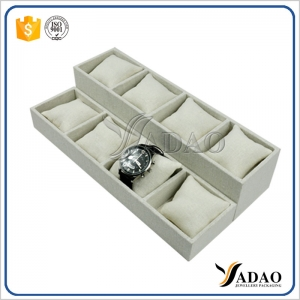Wholesale China high quality linen trays for jewellery and watch shop counter exhibitor watch display trays Elegant Design Watch Display Tray