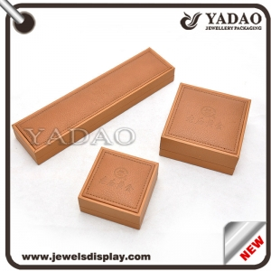 Wholesale Custom brown PU leather gift boxes for jewelry gift and Cosmetic packing and storage for shop counter jewellery box